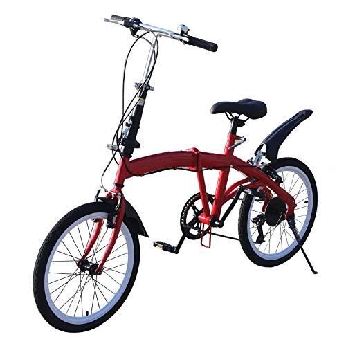 Bicicleta plegable de 20 pulgadas, de acero al carbono, pequeña, unisex, 7 velocidades, velocidad variable, freno delantero en V y freno trasero, para adultos, bicicleta portátil para ciudad (rojo)