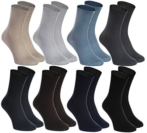 Rainbow Socks - Hombre Mujer Calcetines Diabéticos Sin Elasticos - 8 Pares - Beige Marrón Negro Grafito Azul Marino Caqui Azul y Gris - Talla 39-41