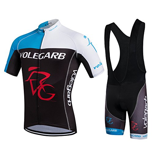 Feilaxleer Ropa Ciclismo Verano para Hombre y Mujer - Un Conjunto de Ciclismo Jersey Maillot y Culotte Pantalones Cortos (Negro Azul,XL)