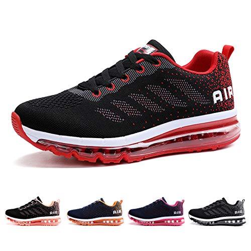 Air Zapatillas de Running para Hombre Mujer Deporte Zapatillas de Trail Deportivas Ligero Fitness Gym Zapatos para Casual Gimnasio Correr Sneakers Athletic Transpirables(Talla 42EU, Negro Rojo)