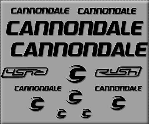 Ecoshirt HC-LSPK-DLSV Pegatinas Cannondale Rush R307 Stickers Aufkleber Decals Autocollants Adesivi, Negro