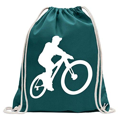 Kiwistar mountainbiker MTB de discesa Divertida Mochila Deportivo para el Fitness. Gymbag para lo Shopping de algodón con cordón, Unisex Adulto, Azul Turquesa, 37 x 46cm