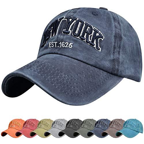 Voqeen Gorra de Beisbol Sombrero de Gorra Ajustable con Bordado New York Gorra de Vintage Algodón de Verano al Aire Libre Cap para Hombres Mujeres (Armada)