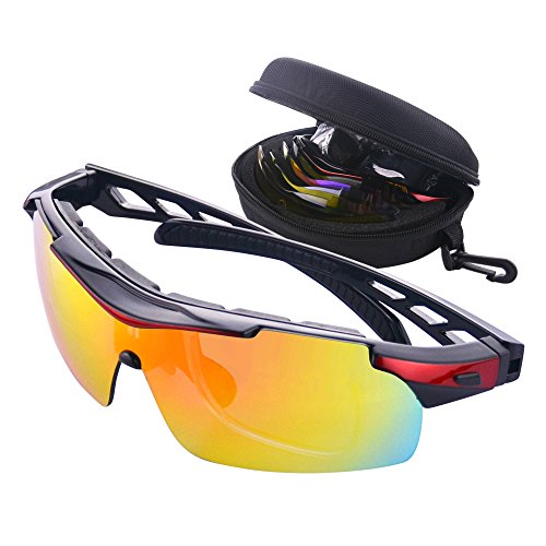 Gafas de Ciclismo Unisex Gafas de Sol de Deportivas Bici Polarizadas 5 Lentes Intercambiables para Hombre y Mujer Deporte Bicicleta Ciclismo Montaña MTB Conducir Pesca Ski Esquiar Golf Correr (Rojo)