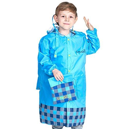 Vine Niños chubasquero con posición de mochila, poncho impermeable con capucha chaqueta de lluvia portátil para niño niña, Azul XXL/12-14 Años