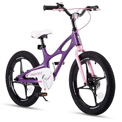 RoyalBaby Bicicleta Infantil para niños y niñas Bicicletas Infantiles Space Shuttle Ruedas auxiliares Bicicleta para niños Magnesio Bicicleta de Niño 18 Pulgadas Purple