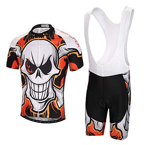 SKYSPER Hombres Jersey + Pantalones Cortos Mangas Cortas de Ciclismo Ropa Maillot Transpirable para...*