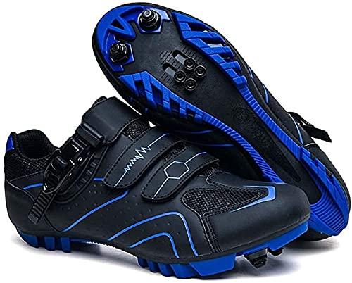 KUXUAN Calzado de Ciclismo para Hombre,Zapatos de Montar en Bicicleta de Carretera MTB, Zapatillas Deportivas Compatibles con Tacos Transpirables con Hebilla,Blue-45