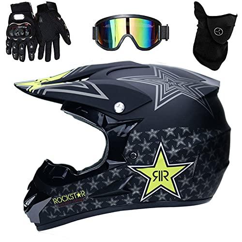 UIGJIOG Casco Descenso Hombre, Negro/Rockstar - Adulto Casco Motocross Enduro MTB con...*