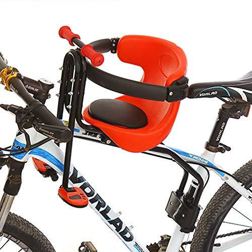 Sillas de bicicletas para niños, Asiento de Bicicleta para niños Desmontables Asientos Delanteros para Bicicletas de montaña rojo para tija de sillín de 31,8 mm