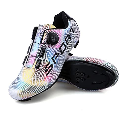 Zapatillas Ciclismo Carretera Hombre Mujere Zapatillas MTB Adulto Cycling Shoes Talla 39 Color Blanco Hebilla De Zapato Giratoria Respirable Calzado Ciclismo con Caja De Zapatos
