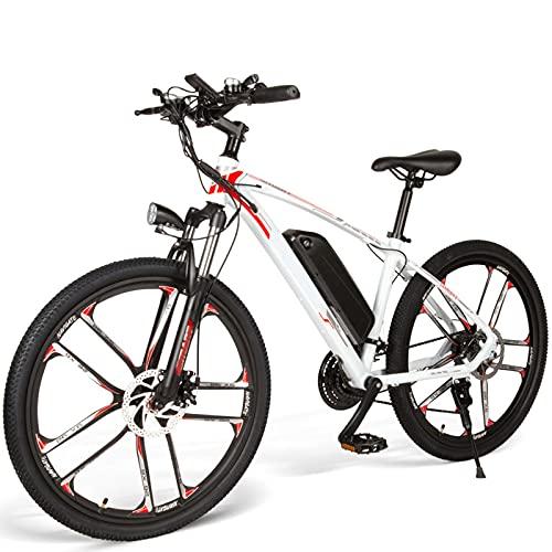 FBKPHSS Plegable Bicicleta Electrica, 20' Todoterreno Carreras de Montaña con 48V 8AH 500W Batería de Litio Extraíble para Ciclismo al Aire Libre,Blanco