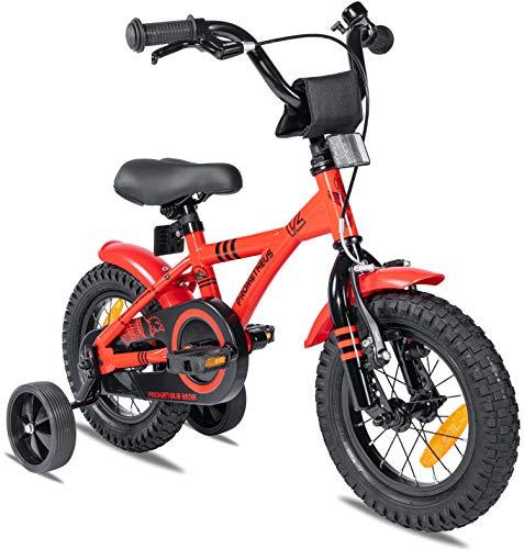 Prometheus Bicicleta para niños de 2 a 5 años   Bicicleta Infantil 3 años para niñas 12 Pulgadas con ruedines en Rojo y Negro