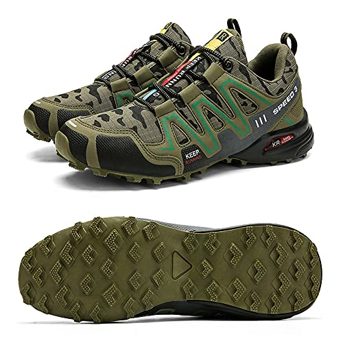 CHUIKUAJ Zapatillas de Ciclismo Zapatillas de Bicicleta de Carretera para Hombre Zapatillas de Bicicleta de Montaña Zapatillas de MTB,Zapatos para Correr Casuales,Green-45EU