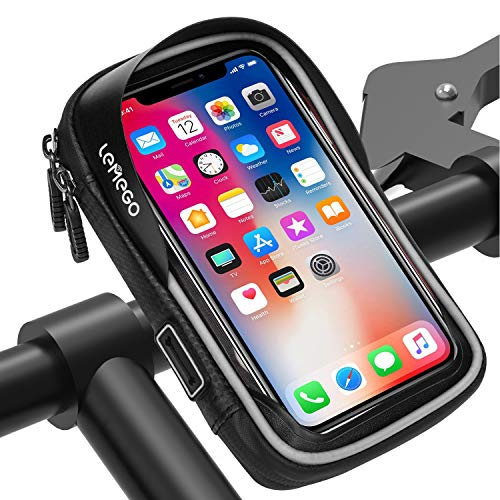 LEMEGO Bolsa Bicicleta Manillar para Ciclista Ciclismo, Bolso de Bici Impermeables Soporte Móvil teléfono para teléfonos móviles Inferior de 6 Inches (Gris)