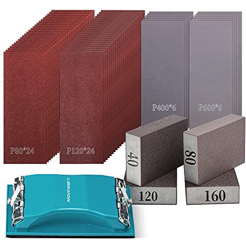Libraton 65 Piezas Papel de Lija Seco y Al Agua Kit de Lijar Manual con Esponjas de lijado de grano...*
