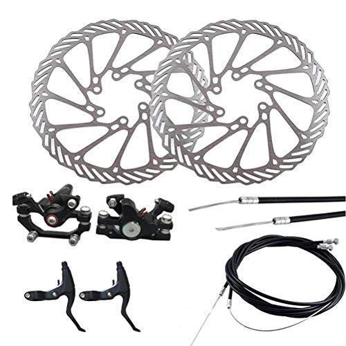 LIOOBO Freno de disco de aluminio delantero y trasero, pinza de freno de bicicleta, freno de disco mecánico delantero y trasero con 2 frenos para bicicleta de montaña