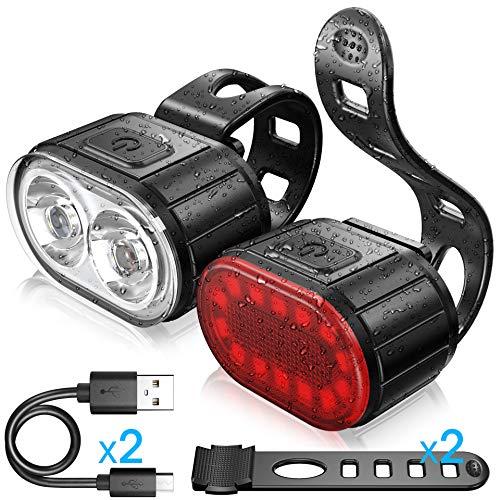 WASAGA Juego de Luces para Bicicleta, Bicicleta Sport LED Luz Trasera y Faro USB Recargable Lmpermeable, Luz Delantera de 4 Modos de Luz y Luz Trasera de 6 Modos de Luz