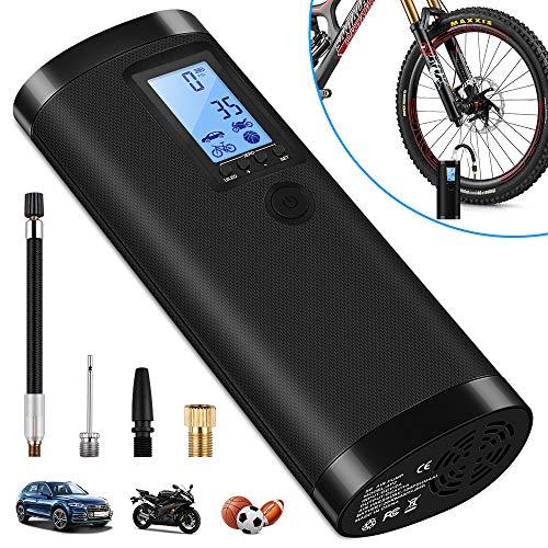 VEEAPE Compresor de Aire Portátil con Batería Recargable 2000 mAh, Mini Bomba de Bicicleta...*