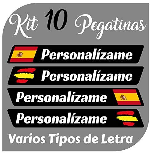 Kit x10 Pegatinas Vinilo Bandera España + tu Nombre - Bici, Casco, Pala De Padel, Monopatin, Coche,...*