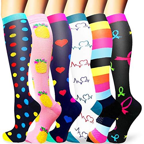 Sooverki Calcetines de compresión para Mujeres y Hombres 20-25 mmHg es el Mejor Graduado atlético, Correr, Volar, Viajar, Enfermeras 03-Multicolor-6 Pares S/M