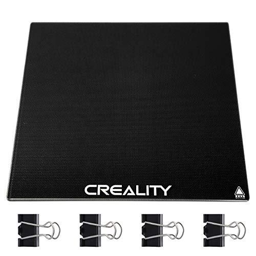 Cama de Vidrio Creality Ender 3,Plataforma de Impresora 3D Mejorada para Creality Creality Ender 3,Ender 3 Pro,Ender 5,CR-20, CR-20 Pro Cama Calefactada Placa de Vidrio de Borosilicato, 235x235x4 mm