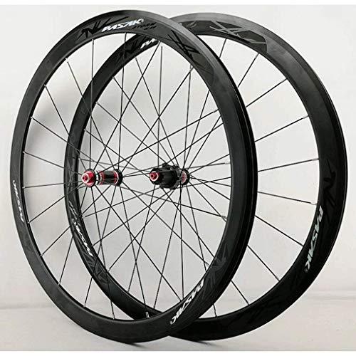 ZHTY Rueda de Bicicleta 700c Juego de Ruedas de Bicicleta de Carretera Llanta de aleación de Doble Pared 40 mm Freno de rodamiento Sellado C/V Juego de Ruedas de Bicicleta QR de 7-11 velocidades