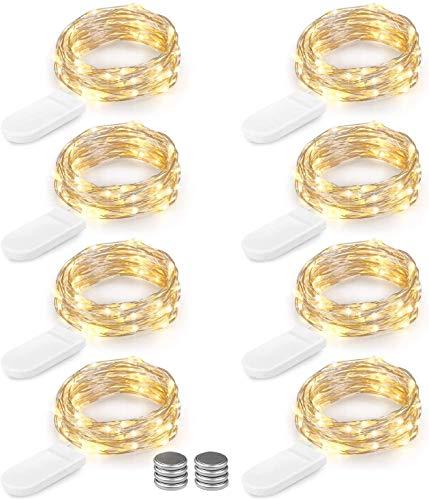 BrizLabs 8 Piezas Cadena de Luces 2M 20 LED Cable de Cobre Impermeable luces led con Pilas Iluminación de Interior Alambre Guirnalda Luces para Decoración Boda Fiesta de Navidad, Blanco cálido