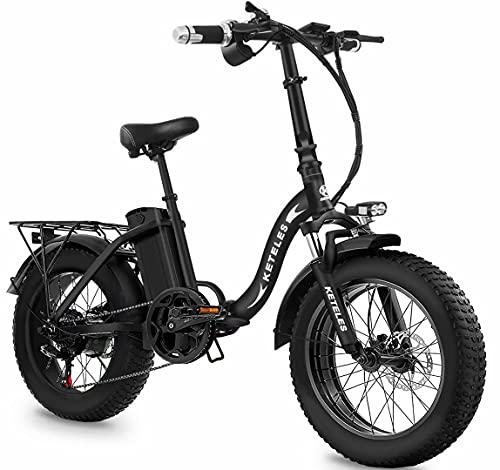 Bicicleta Eléctrica Plegable, Batería De Lones De Litio De 48V 18Ah con Neumático Gordo 20