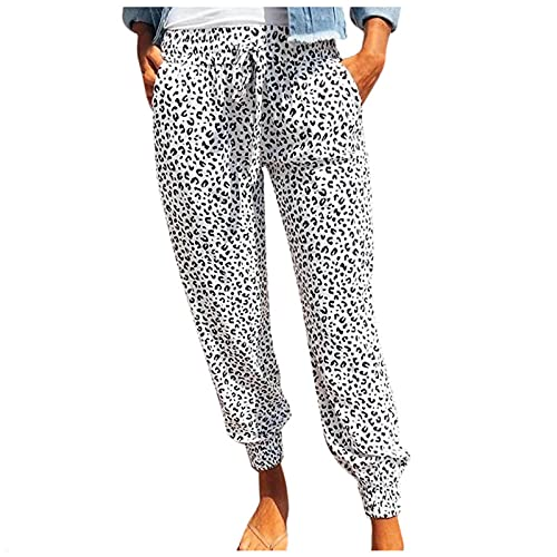 Pantalones de deporte para mujer, diseño de leopardo, con bolsillos, cintura elástica, sueltos, rectos, ajuste elegante, cintura alta, pantalones de deporte, Blanco, S