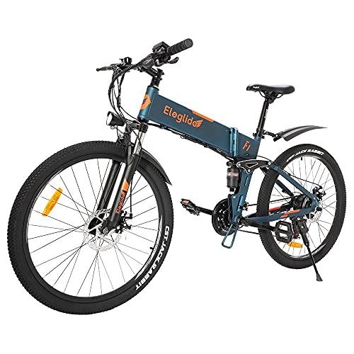 Bicicleta de montaña Plegable Eleglide F1, Bicicleta Adulto Bicicletas Mujer montaña de 26', Motor 250 W, batería extraíble 10,4 Ah, Shimano transmisión Delantero y Trasero - 21 velocidades