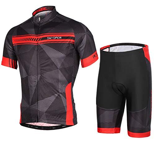 SKYSPER Ciclismo Maillot Hombres Jersey + Pantalones Cortos Culote Mangas Cortas de Ciclismo...*