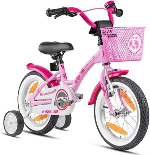 Prometheus Bicicleta para niños de 3 a 5 años   Bicicleta Infantil 4 años para niñas 14 Pulgadas con ruedines en Rosa y Blanco