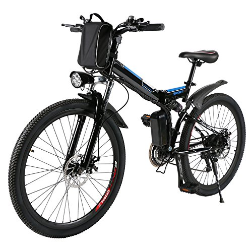 AMDirect Bicicleta de Montaña Eléctrica Bici Plegable Ebike con Rueda de 26 Pulgadas Batería de...*