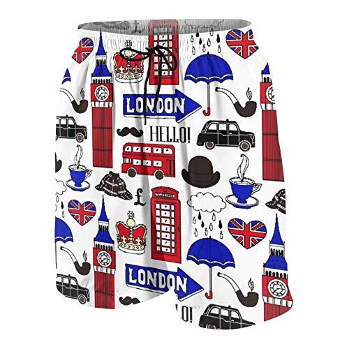 MAYBELOST Pantalones Cortos de Playa para Hombre,Símbolos y monumentos de Londres,Trajes de baño de Secado rápido Trajes de baño con Forro de Malla y Bolsillos