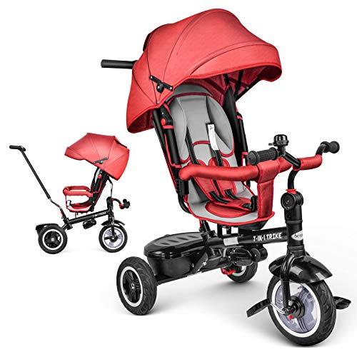 besrey Triciclo Evolutivo Bebé 7 en 1, Triciclo Asiento Giratorio, Empujar el Triciclos para Bebé...*