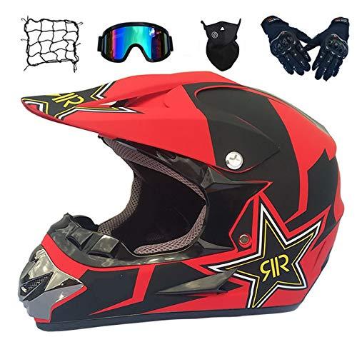 Casco de Descenso para jóvenes Adultos Regalos Gafas máscara Guantes Bolsillo Neto BMX MTB ATV Bicicleta Carrera Integral Integral Casco,E,M