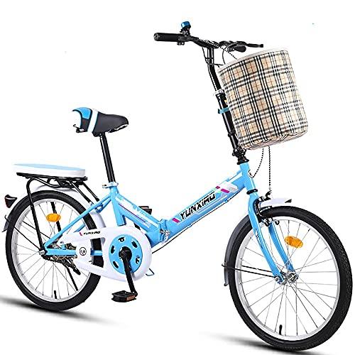 DODOBD Bicicleta Plegable Bikes, Folding Bicicleta Plegable Cuadro Aluminio Ruedas, Bicicleta Retro de Ciudad para Trabajo Ligero con Luces Traseras y Canasta para Automóvil