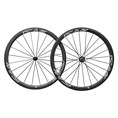ICAN 38mm 700C Ruedas de Carbono Cubierta Bici Carretera 20/24 Agujeros Shimano 10/11 V*