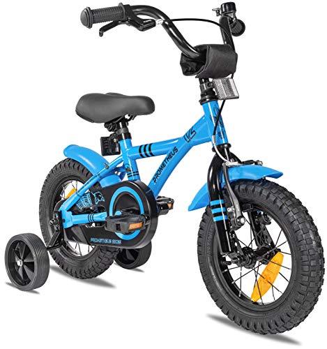 Prometheus Bicicleta para niños de 2 a 5 años   Bicicleta Infantil 3 años para niñas 12 Pulgadas con ruedines en Azul y Negro