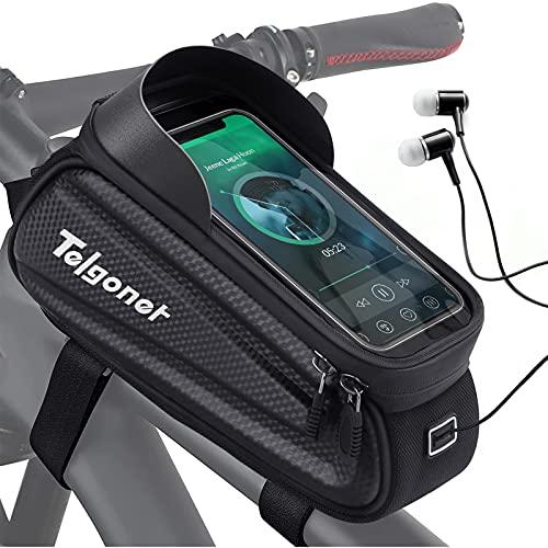 Bolsa Bicicleta Impermeable, Telgoner Bolsa Bici Cuadro, Bolsa Tubo Superior con Pantalla Táctil de TPU para Teléfono Inteligente por Debajo de 7 Pulgadas, Accesorio para Bicicleta Montaña