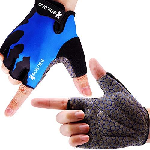 boildeg Guantes de Ciclismo de Bicicleta Guantes de Bicicleta de Carretera de Medio-Dedo para Hombres Mujeres Acolchado Antideslizante Transpirable (Azul, XL)