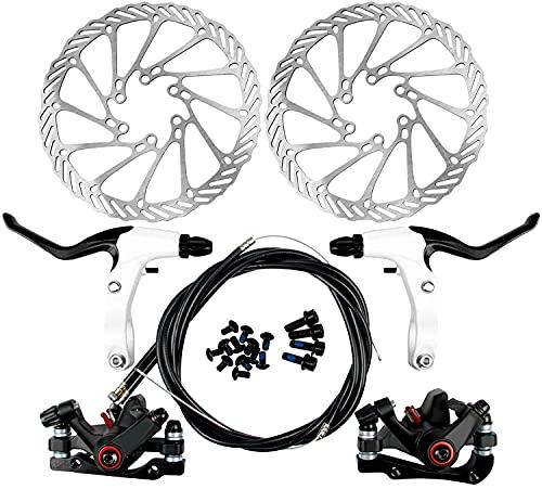 Yorbay Disco de Freno NV5 BD-09 160mm para Bicicleta Blanco con Kit de Tornillos (Negro)...*