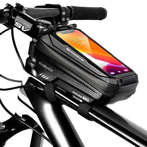 Bolsa Manillar con Soporte Móvil para Telefono Bicicleta, Faireach Bolsa Bici, Bolso Bicicleta Impermeable y con Ventana para Pantalla Táctil, para iPhone, Samsung y Otros Smartphones de Hasta 6,5''