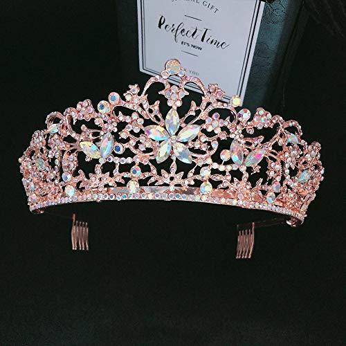 Tiaras Corona Mujer,Queen Crown Baroque Rose Gold Peine Color Crystal Flower Diademas Para Adultos...*
