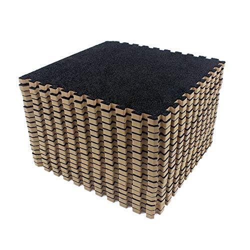 Amazon Brand - Umi -Alfombras de espuma entrelazadas de 30 X 30 cm (Negro 9 Piezas)