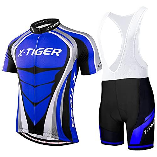 X-TIGER Hombres de Bicicleta con 5D Gel Acolchado MTB Ciclismo Tirantes Culotte Pantalones Cortos Culotes (#8, L(CN)=M(EU))