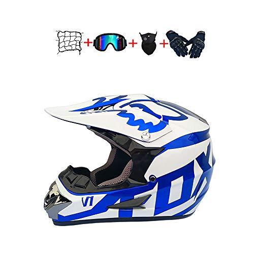 BHGJ Casco Motocross Niño,Diseñado con FOX Cascos De Motocross Cascos de Cross de Moto Set con...*