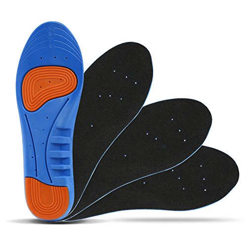 LIHAO 2 Pares de Plantillas Zapatos Unisex Plantillas Gel Deportivas(Azul y Naranja)(EU38-42)*