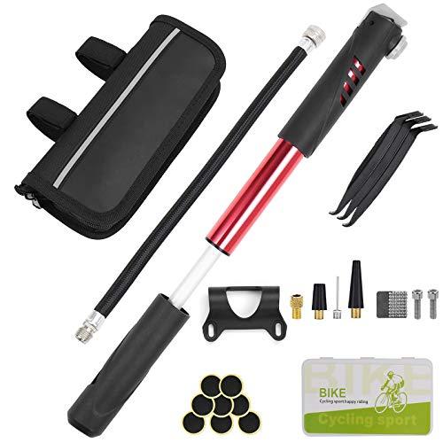 Mini Bomba para Bicicleta 120 PSI Kit de Reparación de Bicicletas Para Presta Y Schrader para...*